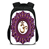 iPrint 15.7'' School Backpack,Chakra Decor,Vivid Digital Mandala Circle with Chakra Lettering Secret Hidden Powers Zen Image,Purple,for Teenagers Girls Boys