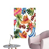 """Modern Decor Tropic Summer Holiday Beach Themed Travel Charm Coctails Hats Sunglasses Print Ideal Kids Decor or Adults,32""""W x 56""""L"""