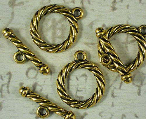 Pendant Jewelry Making 3 Sets Clasps Toggles Gold Tone Rope Bracelet Necklace Closures