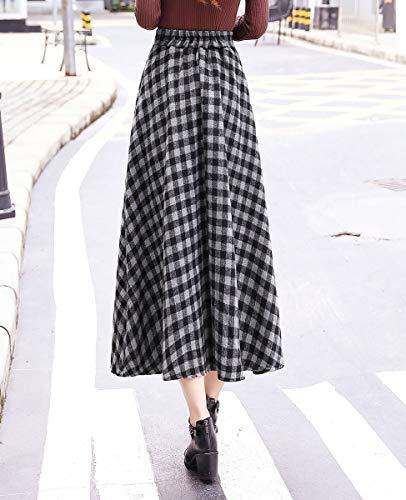 Taille lastique Femmes Chaud Raye Laine Jupe Raye BiilyLi 6 Chaude A Haute Longue Line Automne Hiver en Taille Vintage Hiver Jupe lgant FqdTxBda