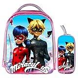 YOURNELO Girl's Cartoon Printed Miraculous Ladybug Rucksack School Backpack Bookbag (B Set 3) For Sale