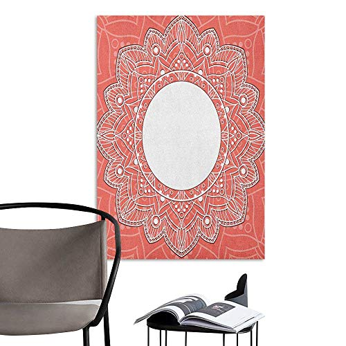 Stickers Wall Murals Decals Removable Peach Lace Design with Lines and Circles Bridal Inspirations with Soft Colored Background Coral White Hall Fashion W32 x H48
