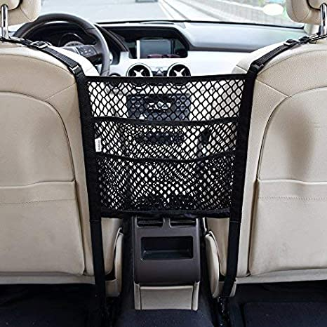 eing Bling Car Mesh Organizer,Seat Back Net Bag,Barrier of Backseat Pet Kids,Cargo Tissue Purse Holder,Driver Storage Netting Pouch with Crystal Diamonds,Black