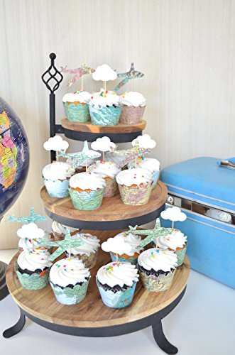 72 Piece Vintage World Map Cupcake Decoration Party Pack - H