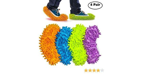 Haichen 4 pares de zapatillas de microfibra multifunci/ón de 24 cm x 12 cm para limpieza en casa 4 colores