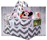 Best Baby Crib and Changing Table Combo 100% Cotton Diaper Caddy Organizer by SimpleShoppers - Storage Bag Organizer Great For Car Travel and Gift Registry | Caddies Gray Storage Basket | Clean Easy Chevron Gray [LIEFTIME WARRANTY]