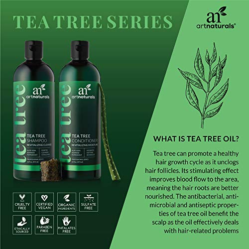 ArtNaturals Tea Tree Shampoo and Conditioner Set - (2 x 16 Fl Oz / 473ml) - Sulfate Free - Therapeutic Grade Tea Tree Essential Oil - Deep Cleansing for Dandruff, Lice, Dry Scalp and Itchy Hair