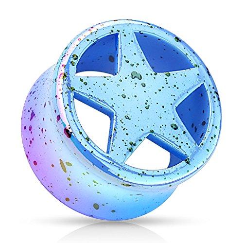 Blue Star Splatter Double Flared Acrylic Saddle Fit Plugs (Sold Per (Star Saddle Plug)