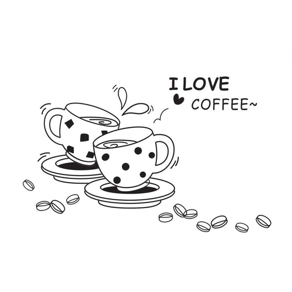 Amaping 3D Wall Sticker Kitchen Removable I Love Coffee Home Art Decals Decor Wall Paper Waterproof Removable DIY Wallpaper Cafe Bar Wall Stickers (Black)