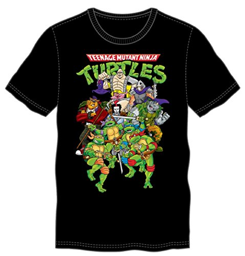 [Tmnt Characters Mens Black T-shirt Teenage Mutant Ninja Turtles (Large)] (Adult Ninja Turtle)