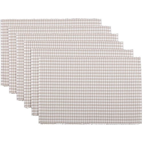 Tara Place - VHC Brands Farmhouse Tabletop & Kitchen-Tara Ribbed Placemat Set of 6, One Size, Grey