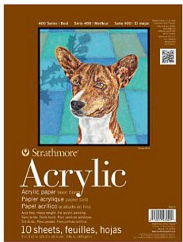 Strathmore 400 Series Acrylic Pad - 9 In. X 12 In | For Acrylic Painting, Drawing, Charcoal, or Pastel
