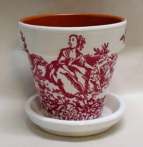 """Handmade Decoupage Terra Cotta Clay Pot, Vintage French Toile, 4.25"""""""