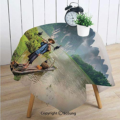 Landscape Square Polyester Tablecloth,Traditional Chinese Fisherman with Birds and Basket on River Fog Mountains Trees,Dining Room Kitchen Square Table Cover,54W X 54L inches,Multicolor