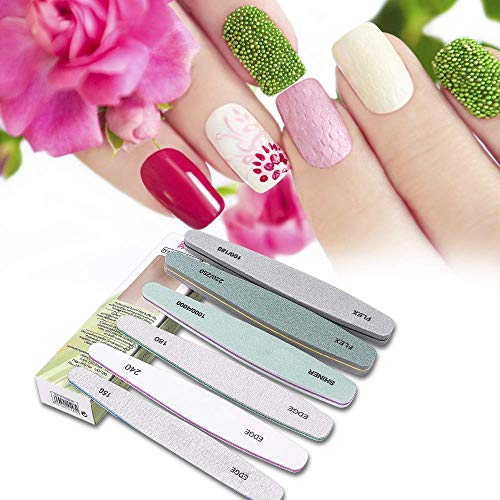 Nail Files Buffer Set, 6 Pcs Professional Nails Block Washable Double Sided Buffers 150, 180, 240, 100/180, 220/280, 1000/4000 with 3 PCS Nail Brushes, Manicure Tools for Nail Grinding Polishing