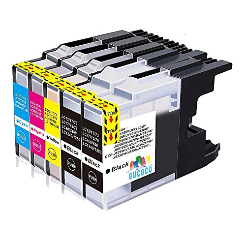 GUCOCO High Yield Compatible Ink Cartridge Brother LC75 Replacement for Brother MFC-J280W, MFC-J425W, MFC-J430W, MFC-J435W, MFC-J5910DW, MFC-J625DW, MFC-J6510DW (2 Black, 1 Cyan, 1 Magenta, 1 Yellow) ()