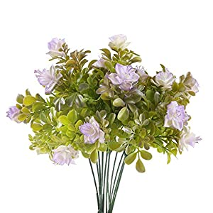MARJON Flowers2 Pcs Artificial Flowers Fake Rhododendron Plastic Flowers Artificial Greenery Shrubs for House Garden Vase Yard Indoor Outside Décor Purple 13