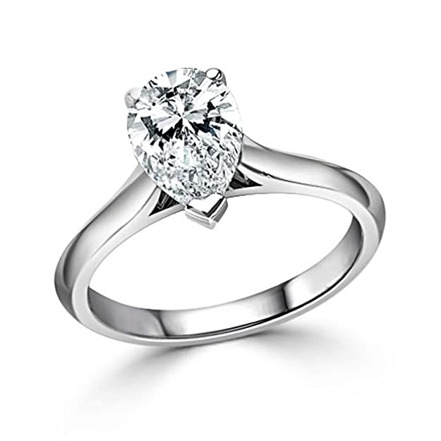 Other Fine Rings 2.50 Ct Pear Cut Real Moissanite Rings 14k Yellow Gold Engagement Rings Size J K