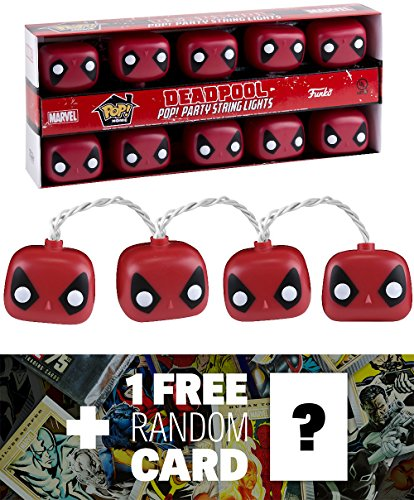 Deadpool: Funko POP! Home x Marvel Universe Party String Lights + 1 FREE Official Marvel Trading Card Bundle (10403)