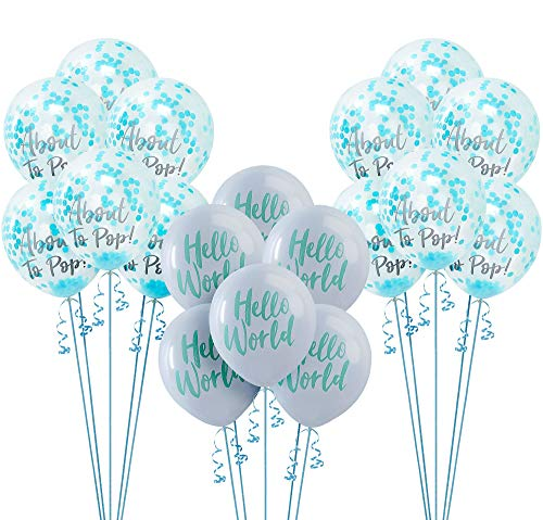 Party City Hello World Baby Shower Balloon Kit and Supplies, Includes Confetti Balloons and Curling Ribbon -