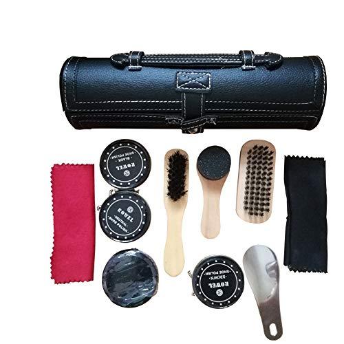 10PCS Shoe Brush Kit, Travel Shoe Shine Shoe Care Kit, Small Tool Pouch for Shoe Brush Kit ()