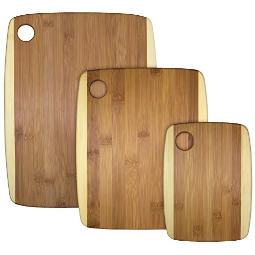 Totally Bamboo 3-Piece Two-Tone Bamboo Serving and Cutting Board Set by Totally Bamboo