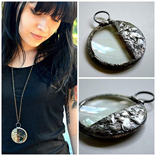 Magnifying Glass Necklace, Large Handmade Pendant, Long Magnifier