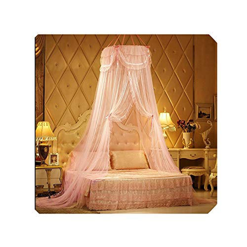 Mosquito Nets Purple Beige Hung Dome for Summer Polyester Mesh Fabric Home Textile Pink Single Door Bed Curtain,3,Universe