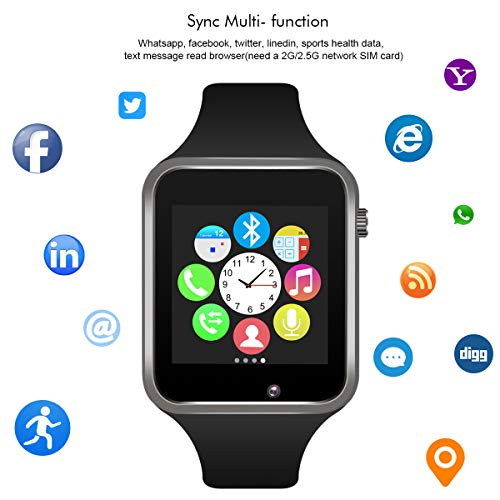 Padcod Bluetooth Smart Watch GSM Phone Watch with Camera for Android Smartphones (Black)