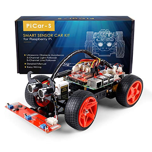 3 Wheeled Kit Car - SunFounder Raspberry Pi Car DIY Robot Kit for Kids and Adults, Visual Programming with Ultrasonic Sensor Light Following Module and Tutorial