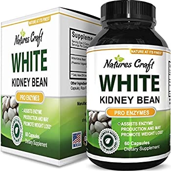 60b856517ea Natures Craft s Pure White Kidney Bean Extract Natural Weight Loss Pills Carb  Blocker Fat Burner Supplement Appetite Suppressant USA Made 60 Capsules