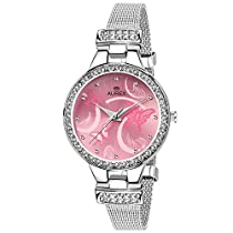 Aurex Analouge Pink Round Dial Watch For Women's (AX-LR501-PKC)