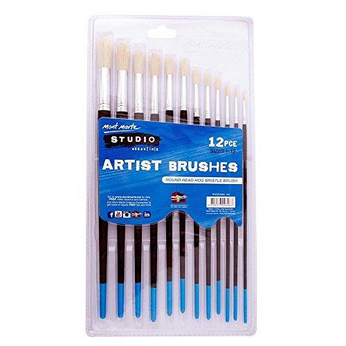 Mont Marte 12pce Studio Series Round Head Brush Set, Hog Bristle Quality Brushes