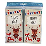 Boys Thank You, 4 Page Cards with Blue Envelopes - Pack of 16 - Woodland Animals Design - Size 5.4' x 2.7'