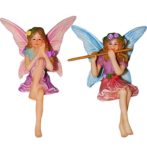Fairy Garden Fairy Figurines - Miniature Garden Fairies - Sitting Girls Set of 2 pcs - Kit for Outdoor or House Decor - By Mood Lab (Sitting Girl)