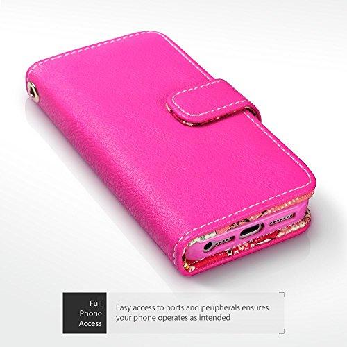 Terrapin Premium di cuoio del raccoglitore per iPhone SE Cover Pelle, Colore: Rosa, Giglio Floreale Interno