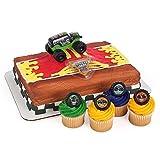 Monster Jam Officially Licensed Cake Topper and 24 Cupcake Topper Rings