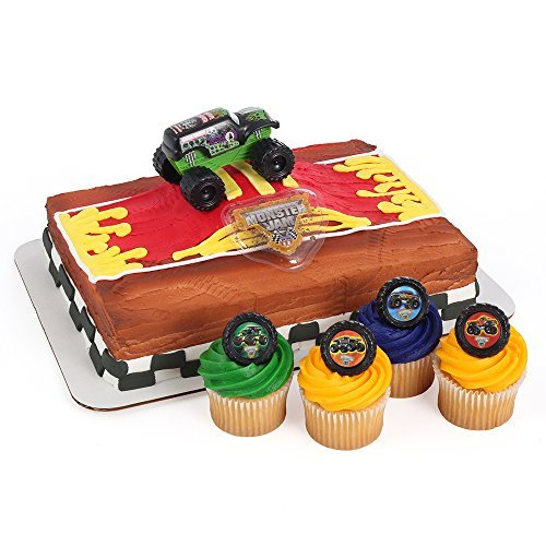 Monster Jam Officially Licensed Cake Topper and 24 Cupcake Topper Rings by Bakery Crafts