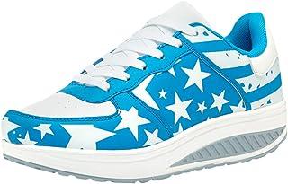 SSYUNO Women's Fashion Sneakers American Flag Platform Comfortable Lightweight Walking Shoes Slip-On Running Soft