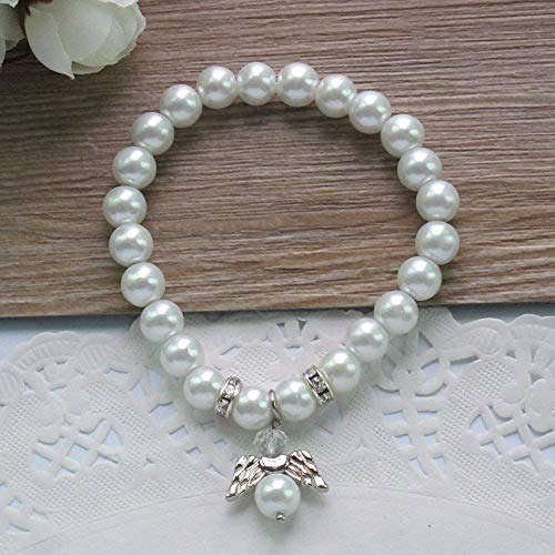 Baptism Favor 12PCS White Pearl Angel Bracelet Baptizo First Communion Christening Baby Shower/Wedding/Mis Quince ()