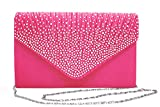 Outrip Womens Envelope Evening Bag Rhinestone Clutch Purse Party Wedding Handbag (Rose)