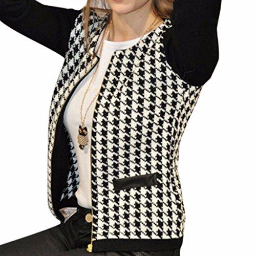 women lady's Black and white plaid overcoat Stitching Slim short (Blazer Jacket Overcoat)