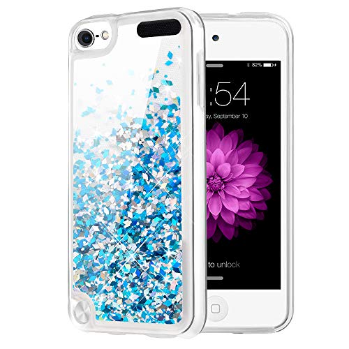 Caka iPod Touch 5 6 7 Case, iPod Touch 7 Glitter Case Liquid Series Luxury Fashion Bling Flowing Liquid Floating Sparkle Glitter Girly Soft TPU Case for iPod Touch 5 6 7 (Blue) (Ipod Touch 4 Bling Case)
