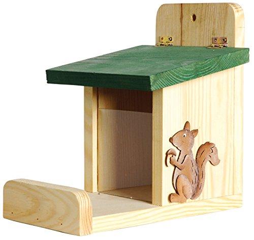 Luxus-Insektenhotels 22219e Futterstation mit UV-Acrylglassilo, Ansitzbrett und Deko-Eichhörnchen