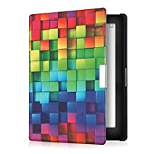 kwmobile Elegant synthetic leather case for the Kobo Aura Edition 1 Design rainbow cubes in multicolor green blue