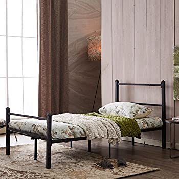 GreenForest Heavy Duty Bed Frame Twin Size Non-slip Metal Frame Bed with Headboard and Footboard Steel Slat Bed Platform Mattress Support Foundation