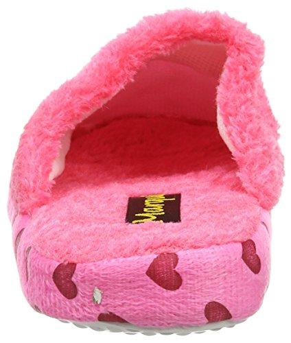 Coolers Womens Heart Printed Fleece Lined Mule Slippers Pink 2kgJS