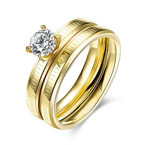 Retop Jewelry 18K Gold Plated Diamonds Womens Wedding Rings Engagement Rings For Girl LKN050 (6)
