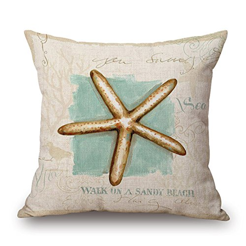 "Happy Cool Cotton Linen Square Mediterranean Sea Decorative Throw Pillow Cushion Cover 18""x 18"" Starfish"