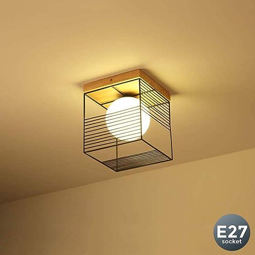 Luz de techo Moderno Simple Pasillo Lámpara de Techo Square Madera Metal Moda Decoracion Plafones Adecuado para Balcón Restaurante Cafetería Bar Escaleras Loft Aplique de pared 1 llamas E27 max.40w: Amazon.es: Iluminación